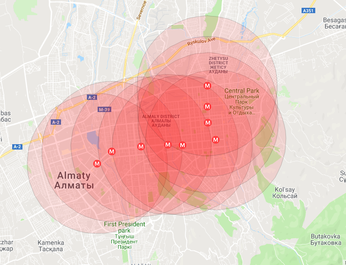 Радиус 4 км от каждой станции метро вполне покрывают все основные густонаселенные районы города. Карта Ербола Султанбаева для блюскрин.кз