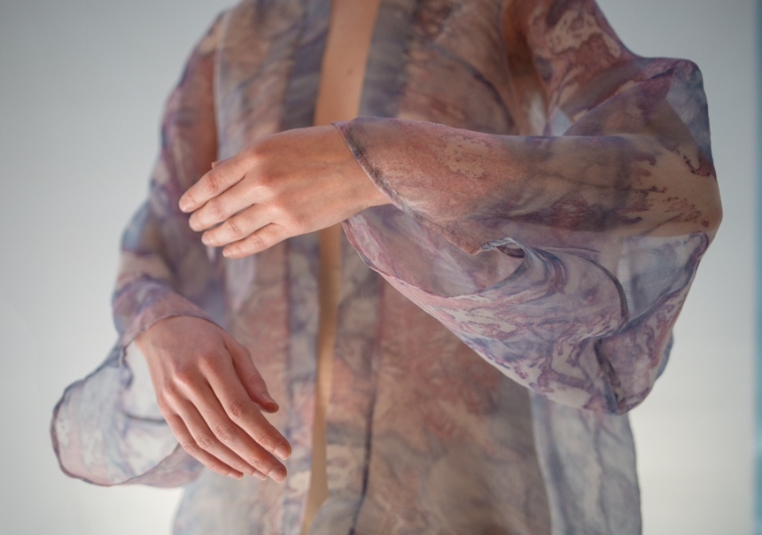 Natsai Audrey Chieza cultures bacteria to print textiles. This garment was specifically designed and pattern cut to be dyed by Streptomyces coelicolor, and made during her residency at Ginkgo Bioworks in 2017. Credit: Natsai Audrey Chieza/Faber Futures.