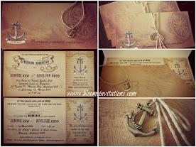 Vintage Nautical Boarding Pass Wedding Invitation