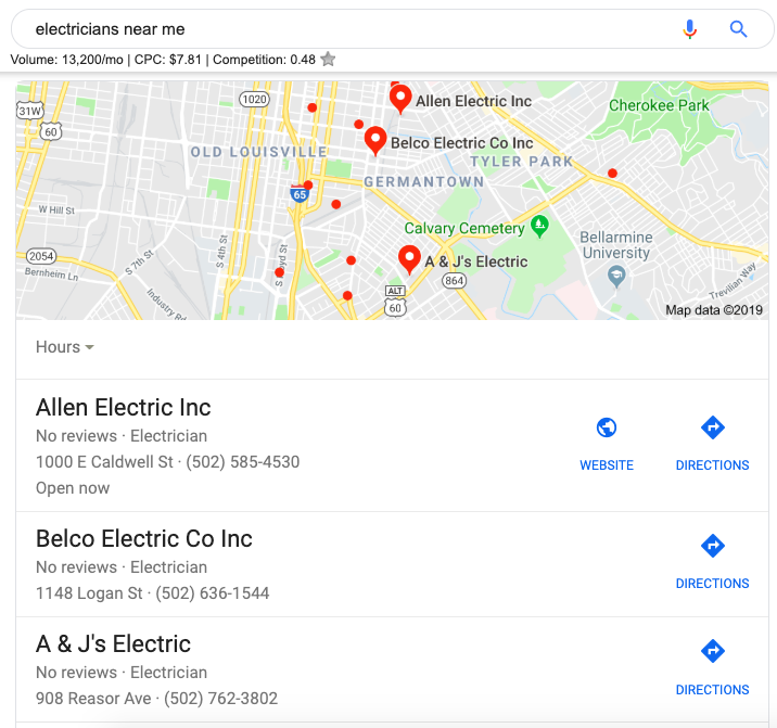 local map pack in google search