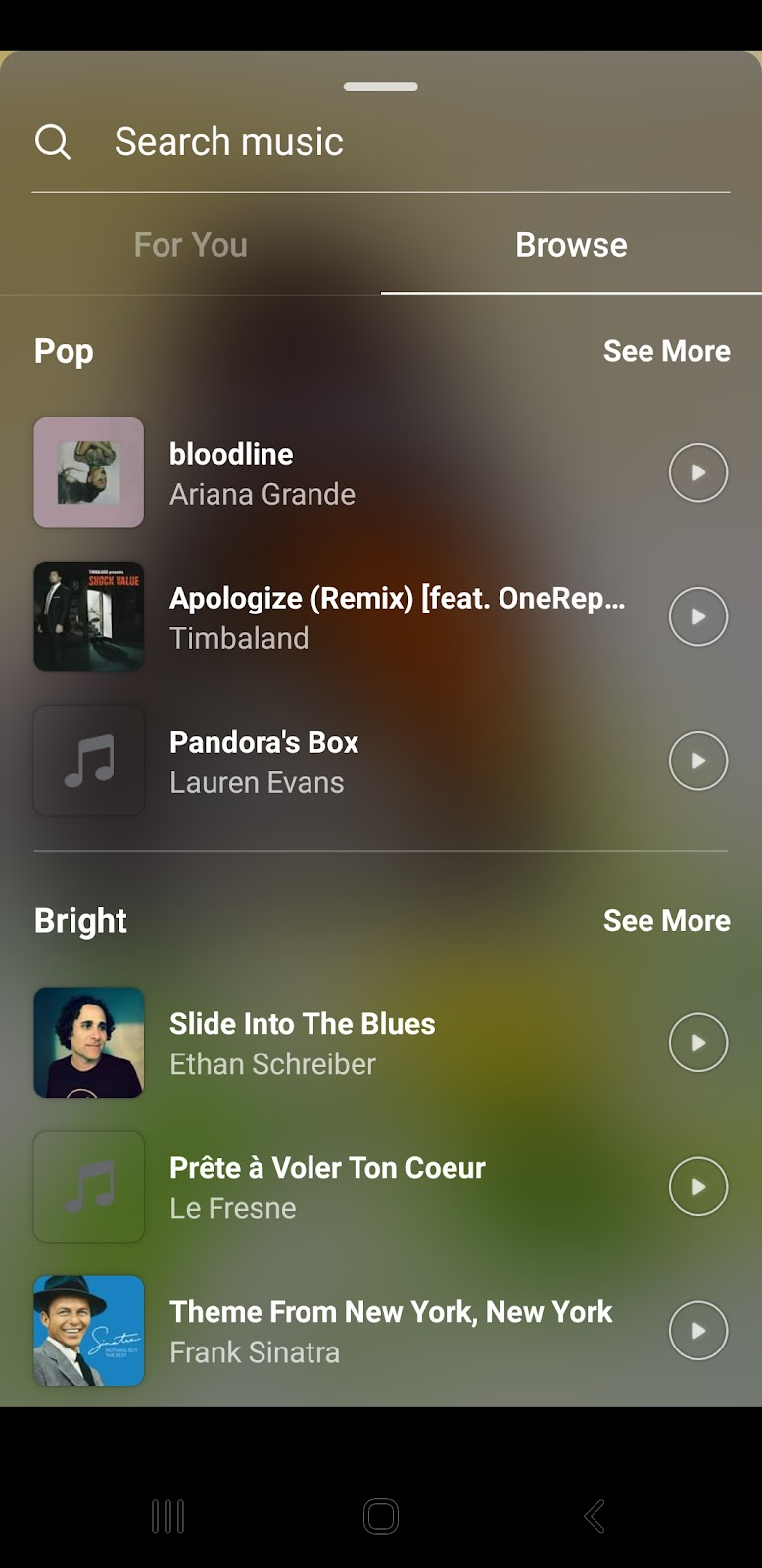 Picture on Instagram searching music library