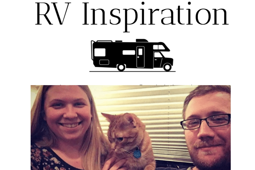 Ashley and Josiah Mann from RV inspiration pose inside their RV with their cat.