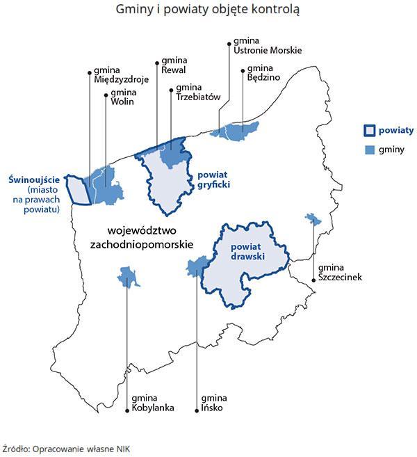 Mapa gmin ipowiatów objętych kontrolą NIK. Źródło: Opracowanie własne NIK