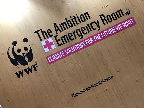 國際知名環團WWF特別在會場內成立一個「醫治緊急狀況」館,並在裡面提出各式各樣的氣候解決方案(圖:詹詒絜)