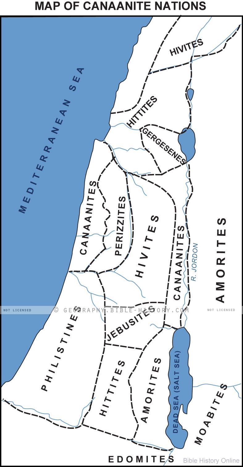 Map of the Canaanites (Bible History Online)