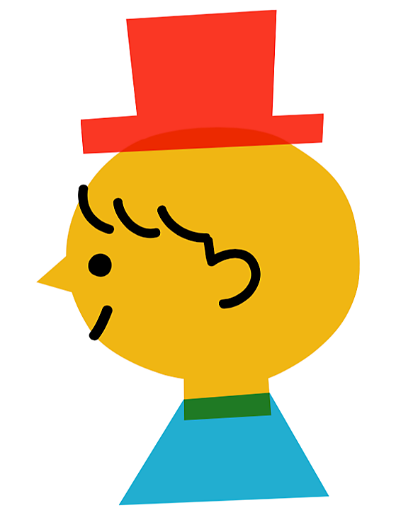 Cute, color-blocked illustration of a boy with a hat on by Shunsuke Satake.
