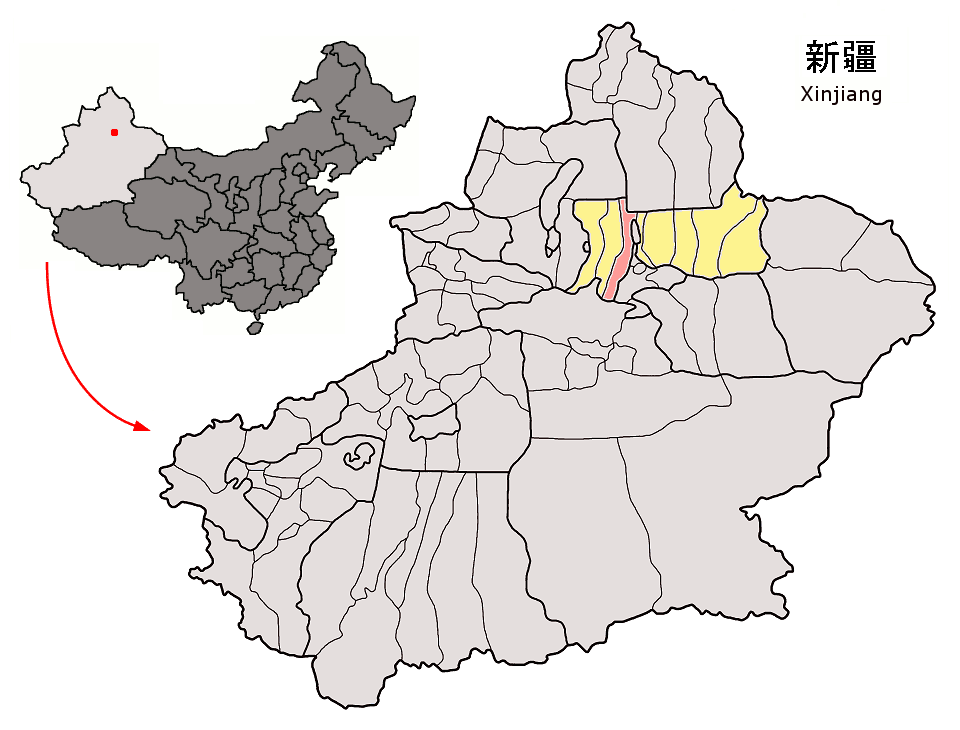 Gray map of the Xinjing province which highlights in yellow the Changji prefecture.