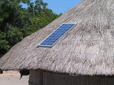 Solar Panel, Roof, Straw, Hut, Solar