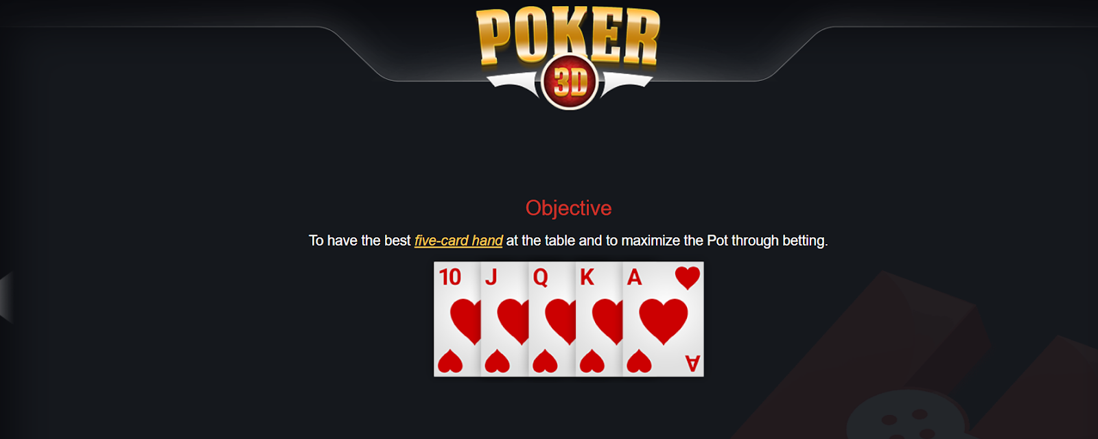 Poker 3D game objective