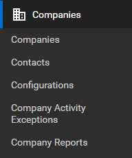 ConnectWise Manage Companies menu and submenu
