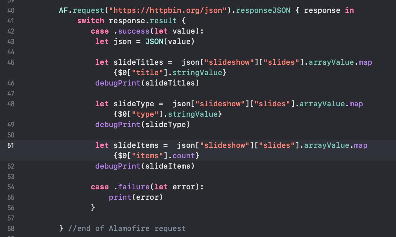 Working with arrays using SwiftyJSON