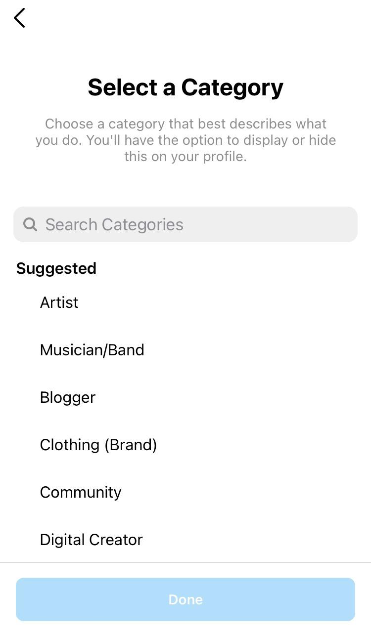 selecting a category for your instagram business account