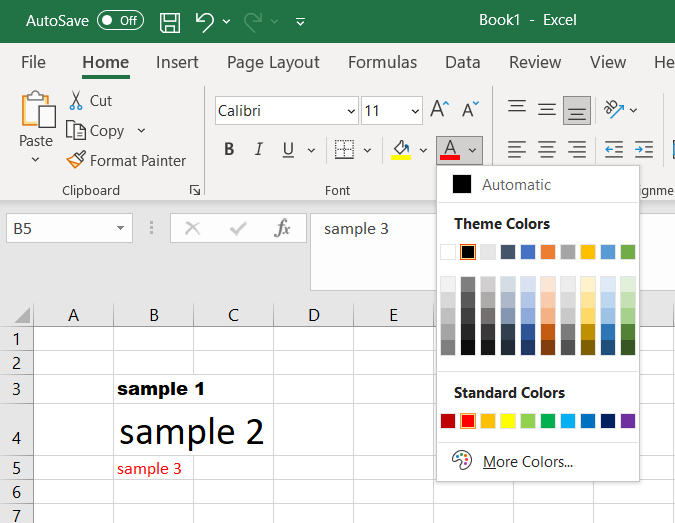 The font color options in Microsoft Excel, accessed via the button in the bottom right of the font group.