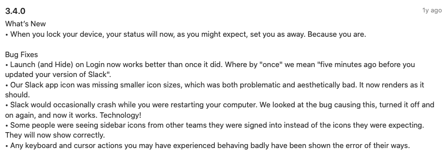 Engaging Release Notes by Slack