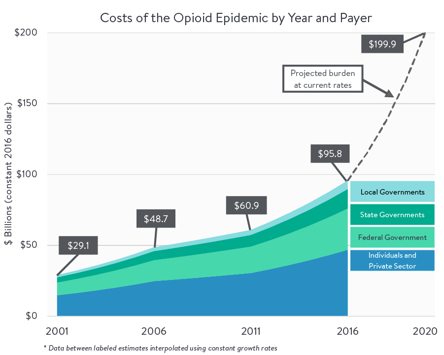 A chart showing the costs of the opioid epidemic by year and payer.