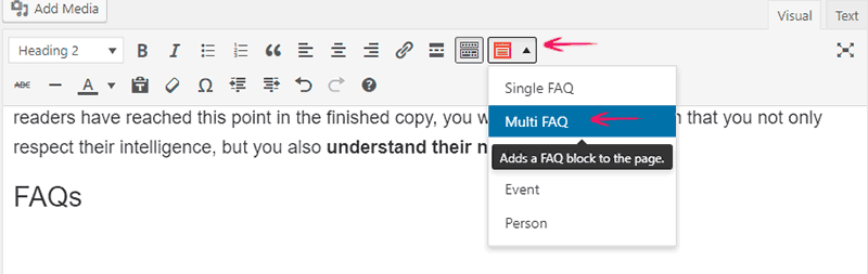 The FAQ button is activated by a structured content plugin in the Classic Editor