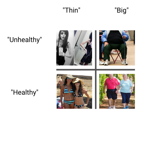 4 categories of thin, big, unhealthy and healthy to show how we group people into categories and discriminate