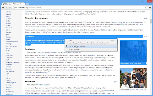 Clip to OneNote chrome extension