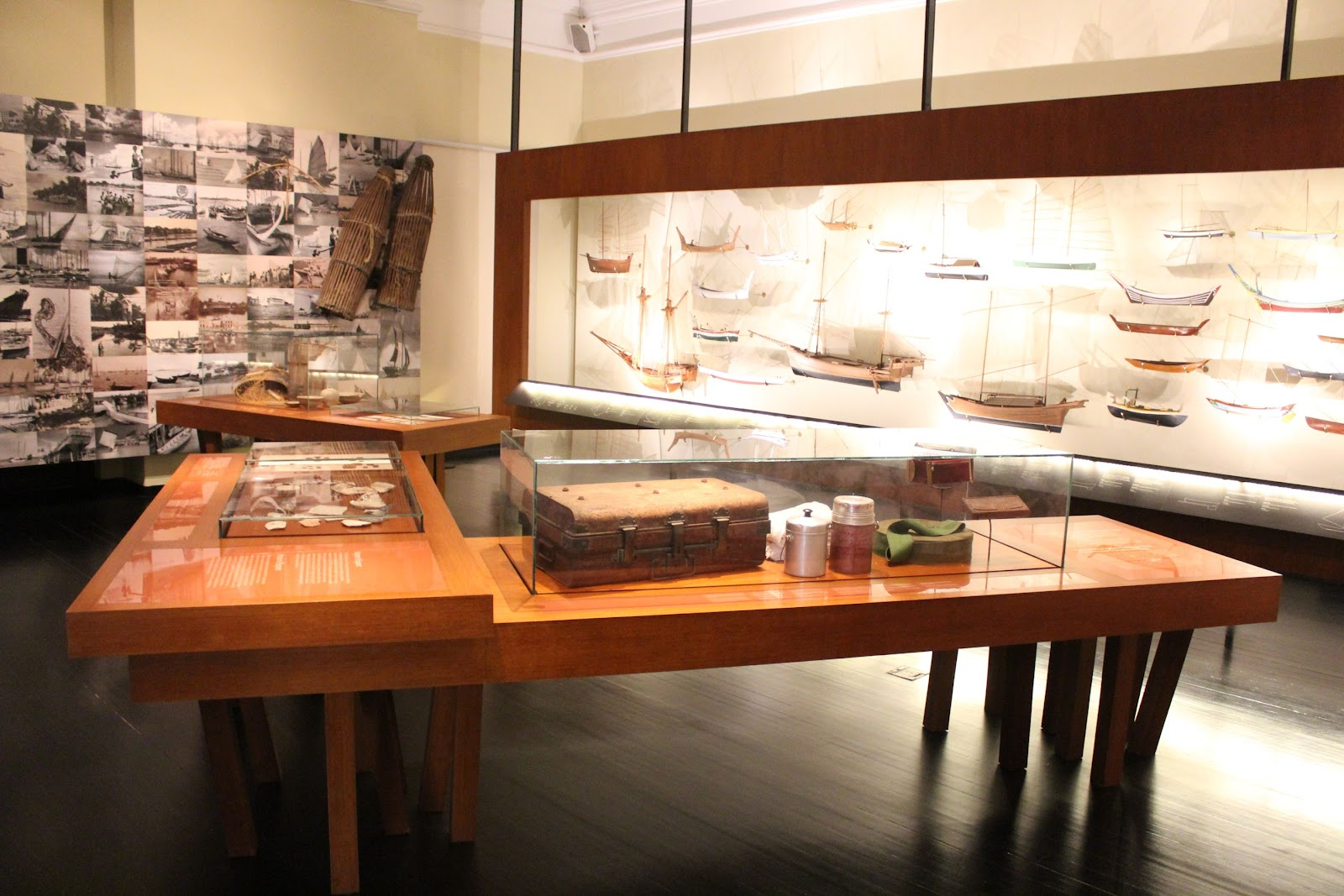 Displays of model ships and trade-based items
