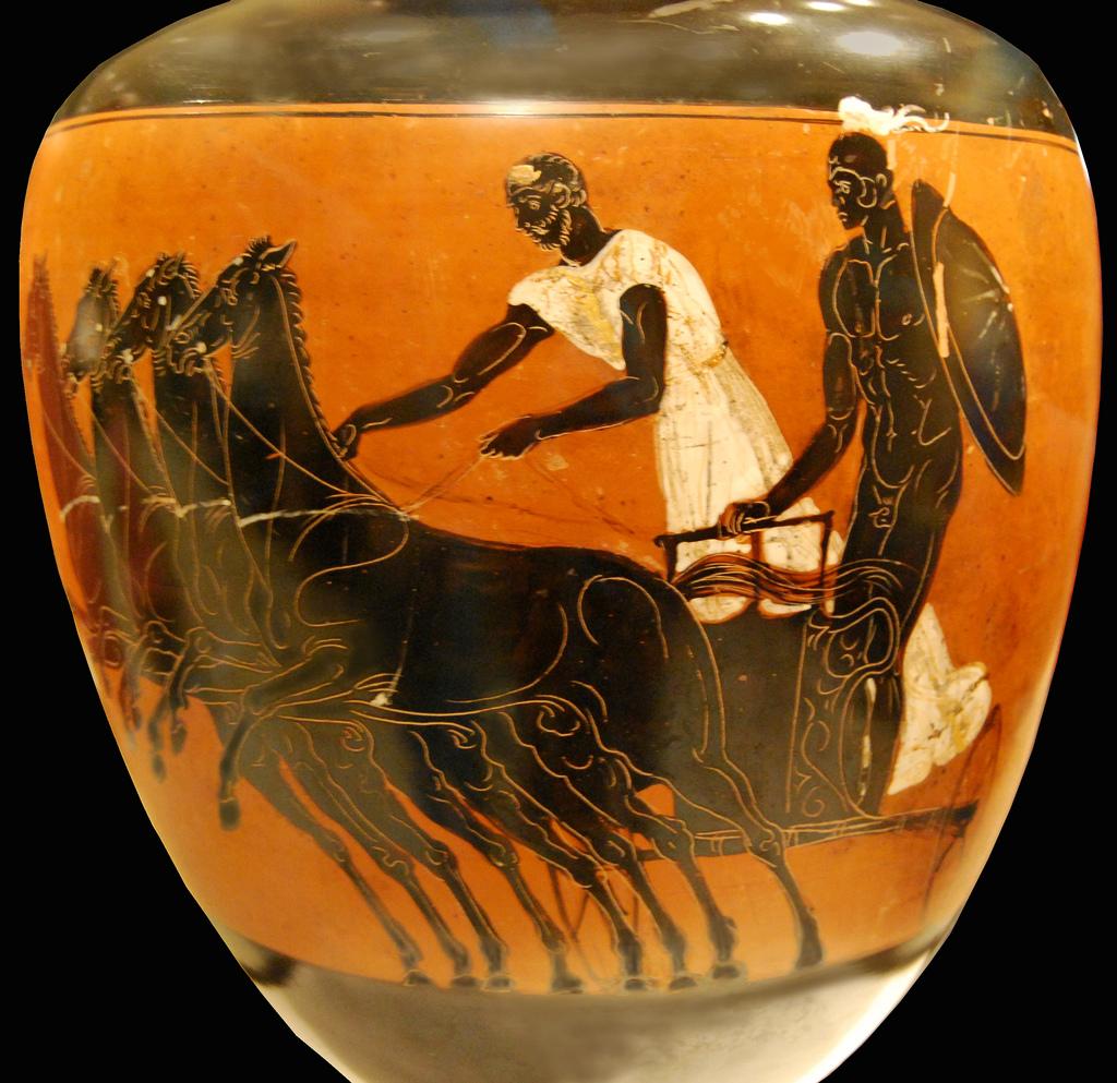 Image result for charioteer four horses greek vase