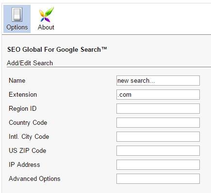 Настройки в расширении Google Global