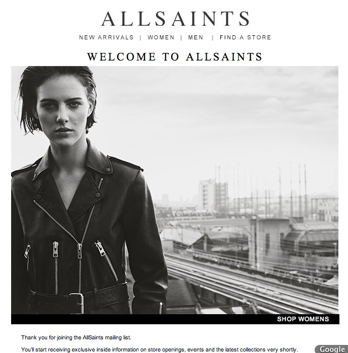 all saints welcome email