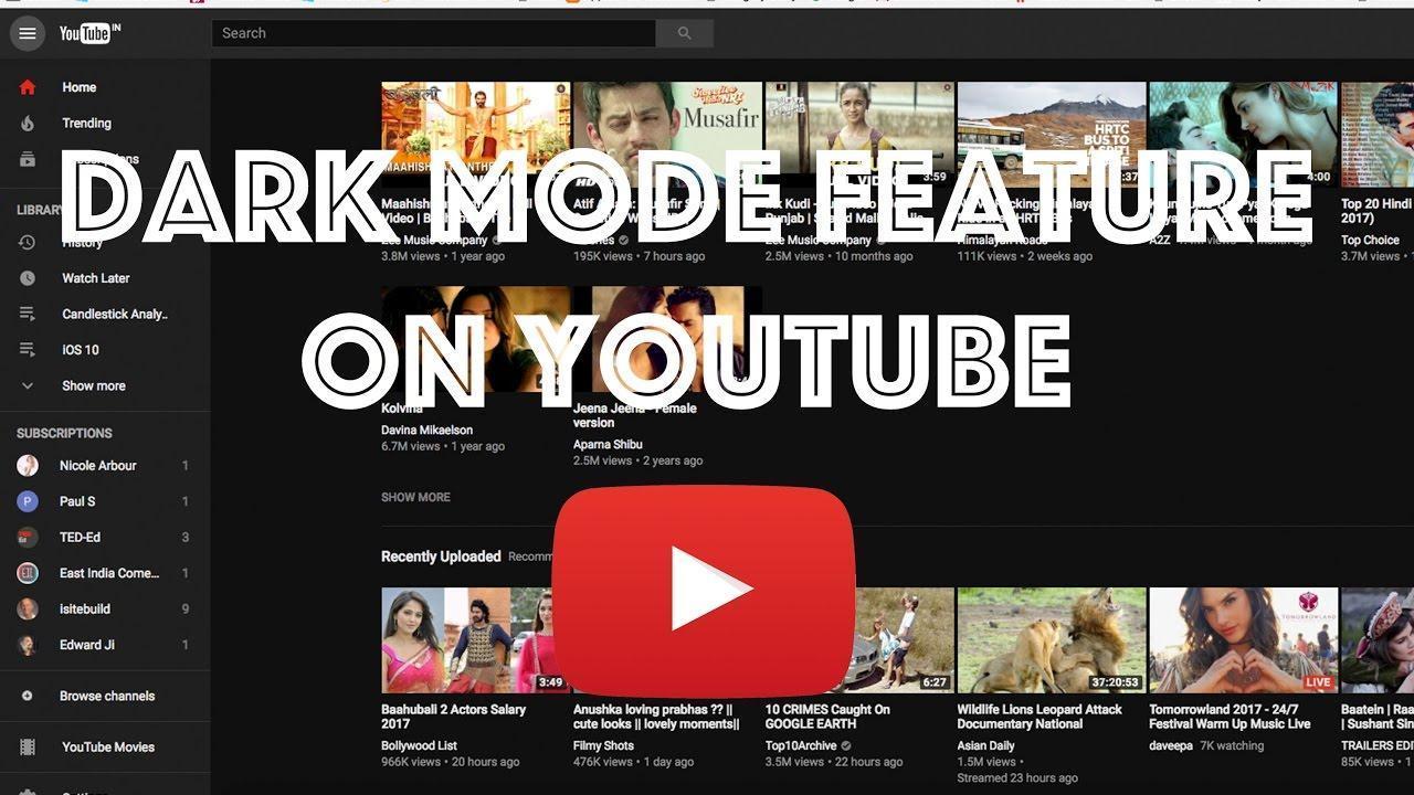 Картинки по запросу dark mode on youtube