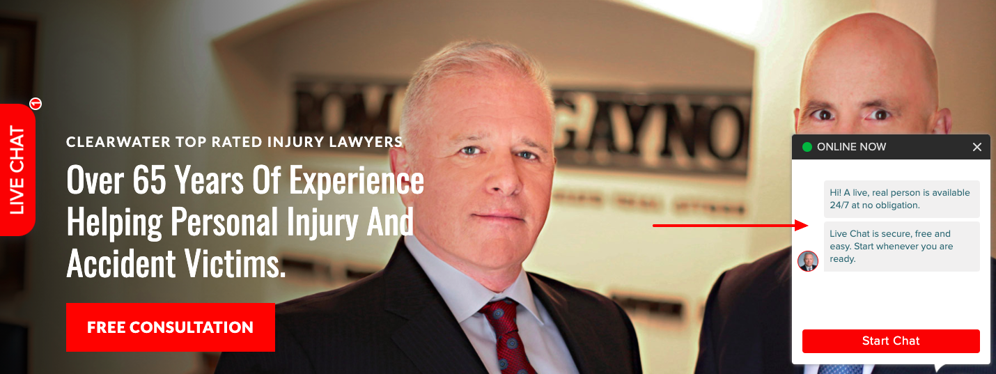 Arrow pointing to a pop-up chat box on an injury lawyer website
