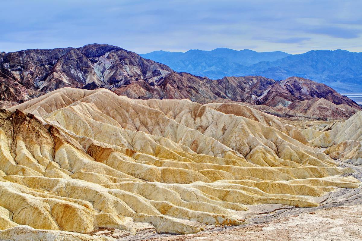 Mountain ranges of various colors in Death Valley, one of nine California national parks