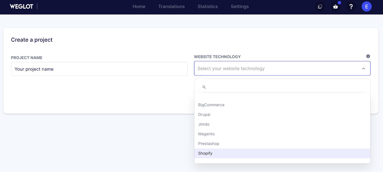 select Shopify translate
