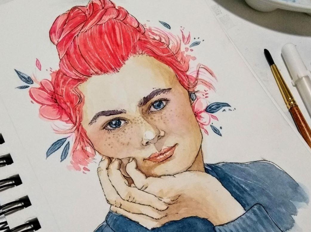 watercolor pink hair girl