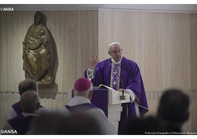 Pope Francis preaches the homily at the morning Mass at the Casa Santa Marta. - ANSA