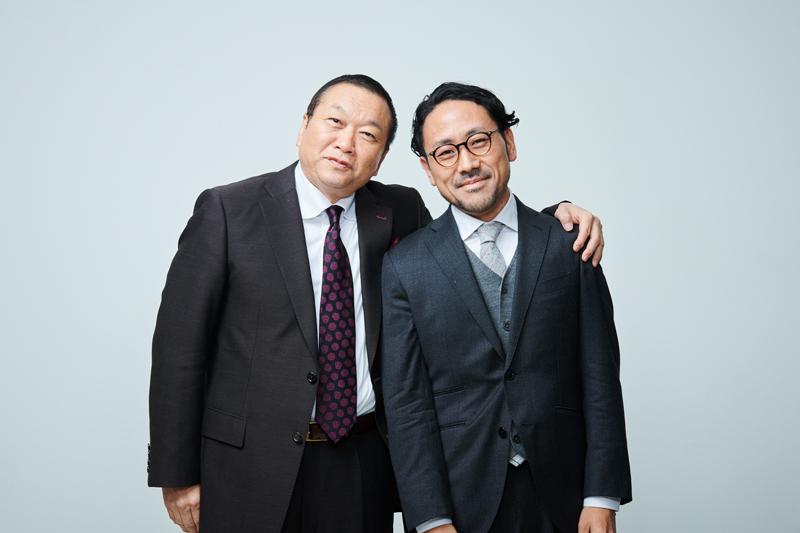 株式会社エクスダスの設立を合意した見城徹(写真左)と家入一真(写真右)