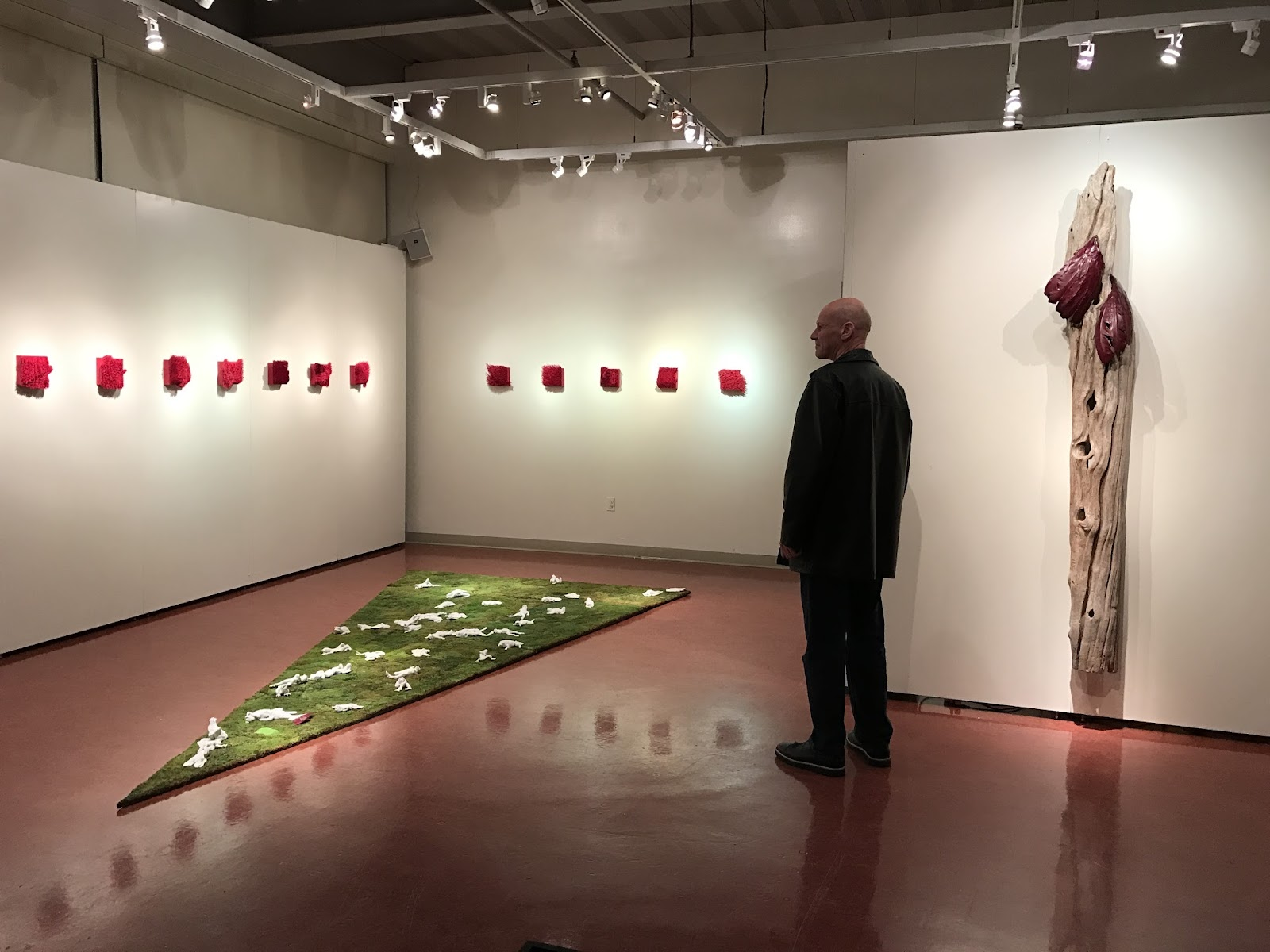 Pictured: Christian Bernard Singer, overlooking Toad Howl and Red II (2016) at the Three Canadian Artists Reflect on the Natural World exhibition at Kean University.