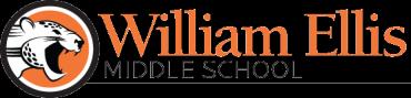William Ellis Middle School logo, orange and black, jaguar inside medallion with William Ellis Middle School text