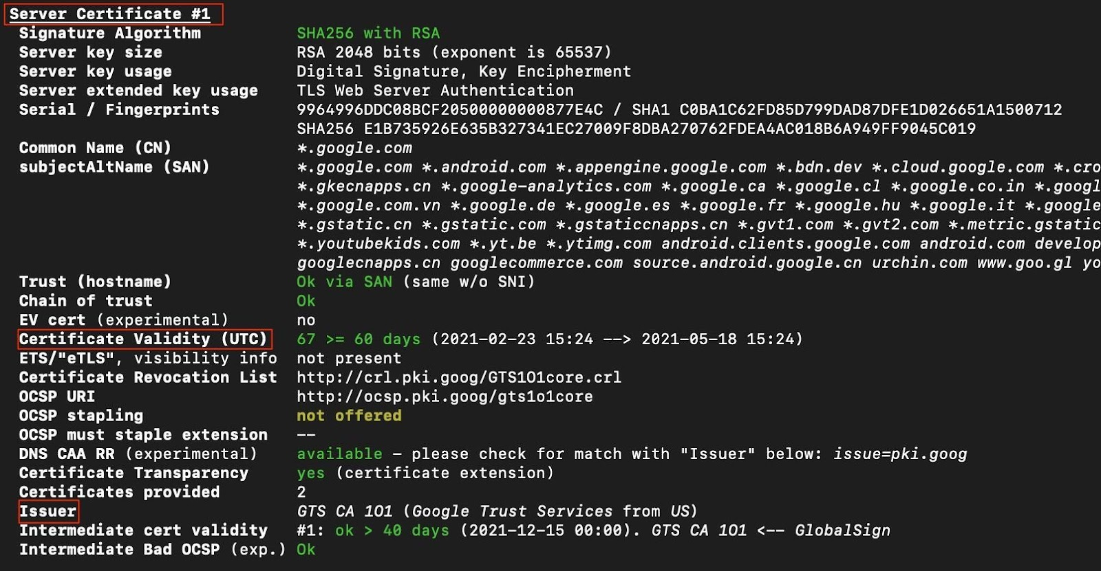 Testssl.sh tool showing the certificates validity and issuer in this screenshot by white oak security.