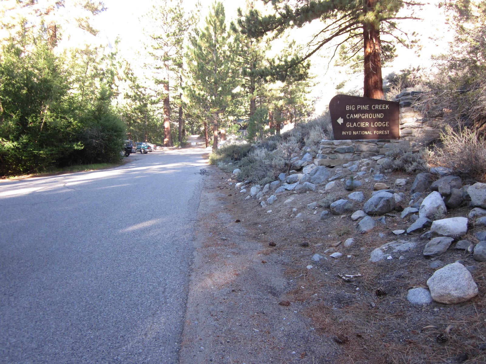 Biking Glacier Point Road - finish - park sign