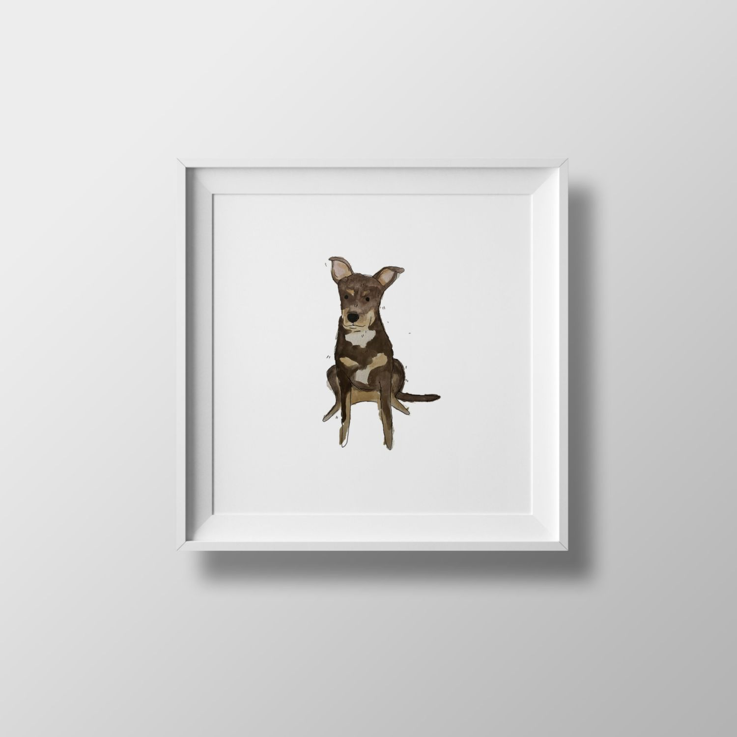 a framed portrait of a dog by andre caceres