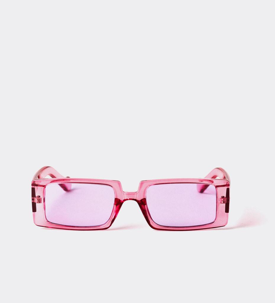 Pavia Purple, neonowe prostokątne okulary