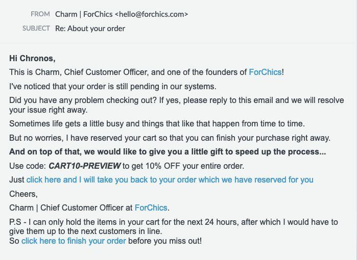 example of a cart abandonment recovery email