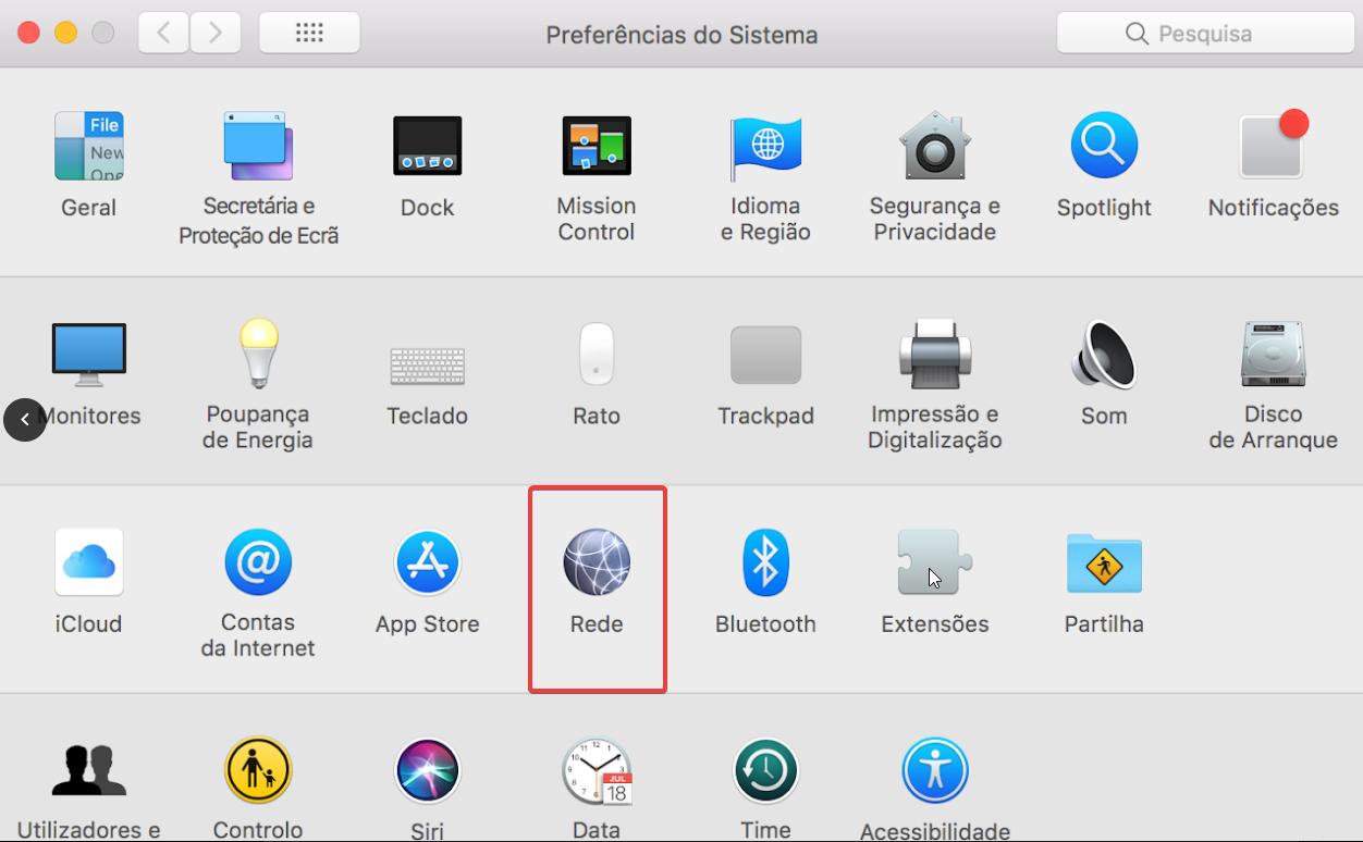 Mac OS Preferências do Sistema > Rede