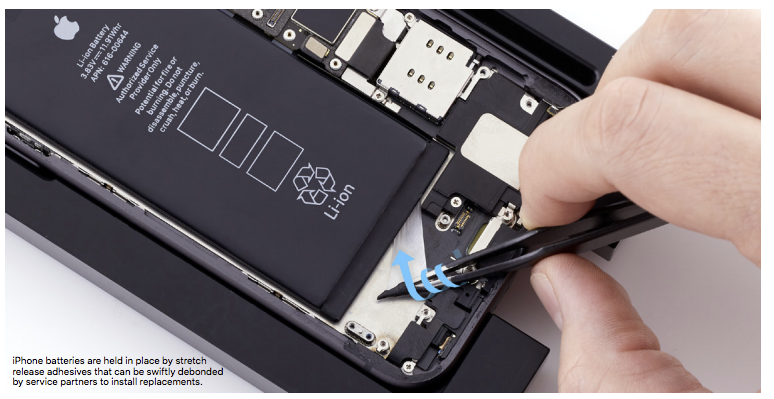 An image from Apple's internal service manuals showing battery strip removal.