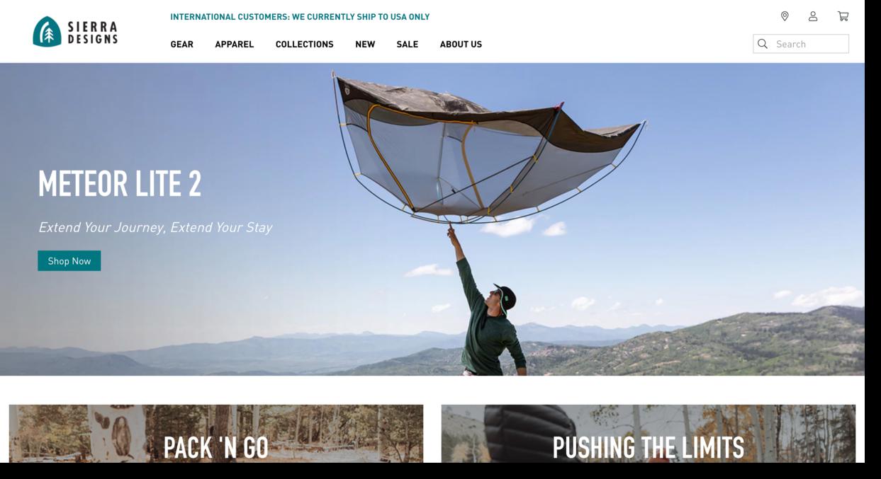 Sierra Designs website screenshot outdoor-gear company