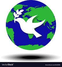 World peace symbol globe dove olive Royalty Free Vector