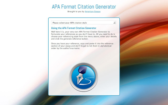 apa formatting generator Citation generator lite helps create in-text citations and references for american psychological association (apa™) format 6th edition essays.