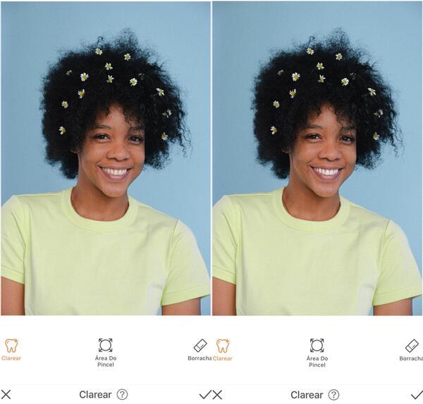 Foto de uma mulher negra com florzinhas no seu black power, sendo editada pelo AirBrush com a ferramenta Clarear