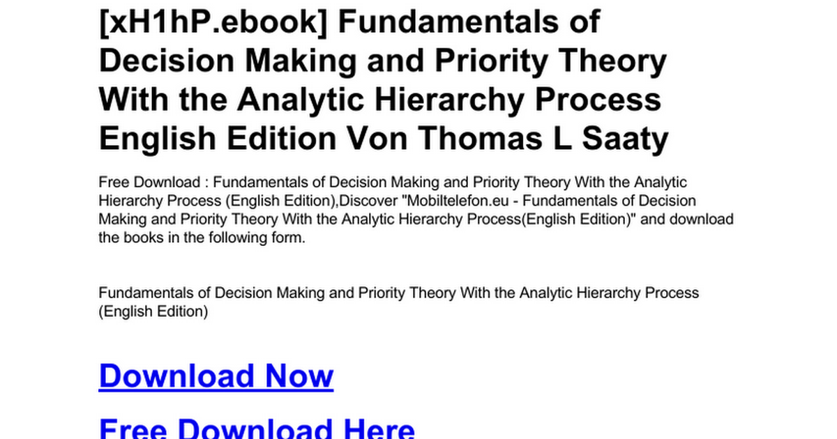 Fundamentals Of Decision Making And Priority Theory With The