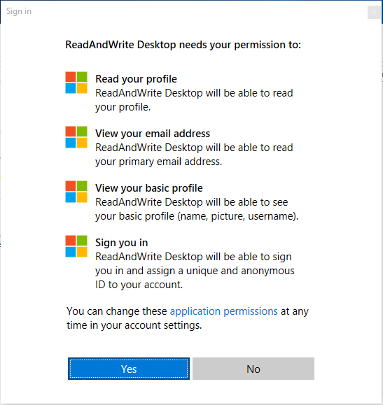 Microsoft permissions screen