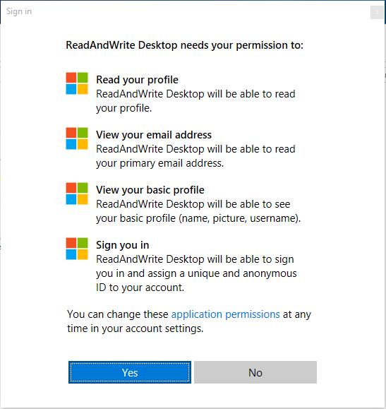 Microsoft permissions screen