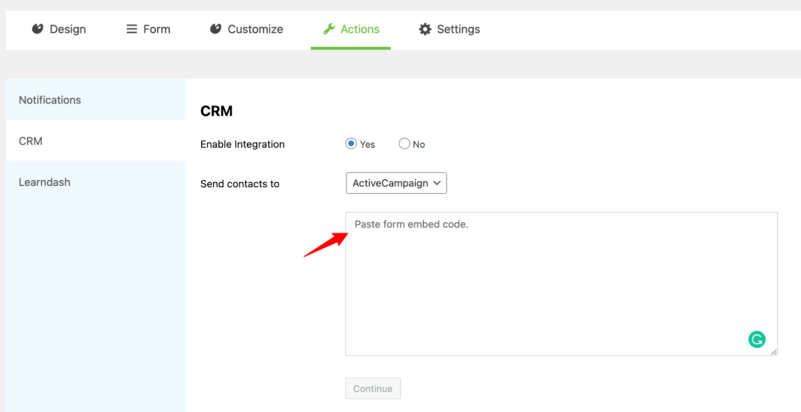 Paste the embed code - lead generation